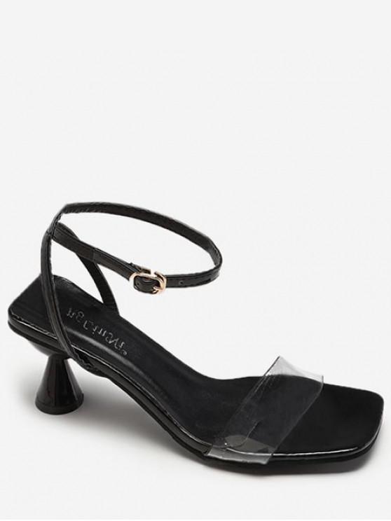 chic Clear Strap Strange Heel Sandals - BLACK EU 36