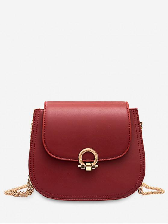 ladies PU Hasp Chain Strap Shoulder Bag - RED