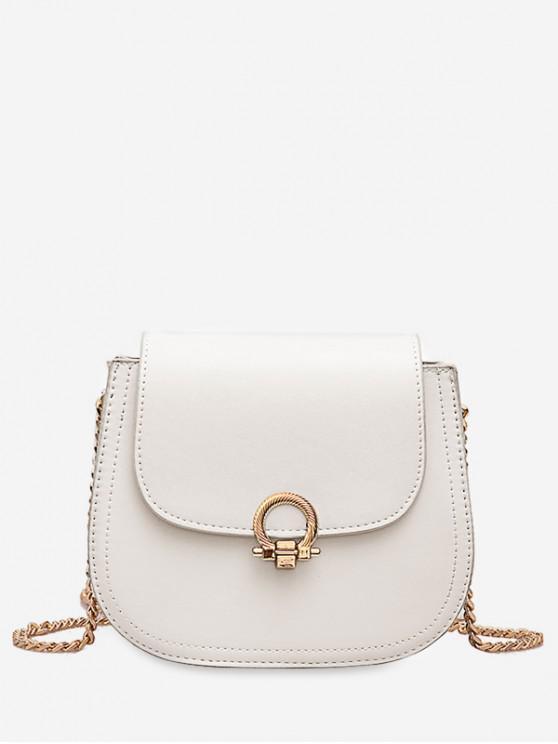 shops PU Hasp Chain Strap Shoulder Bag - WHITE