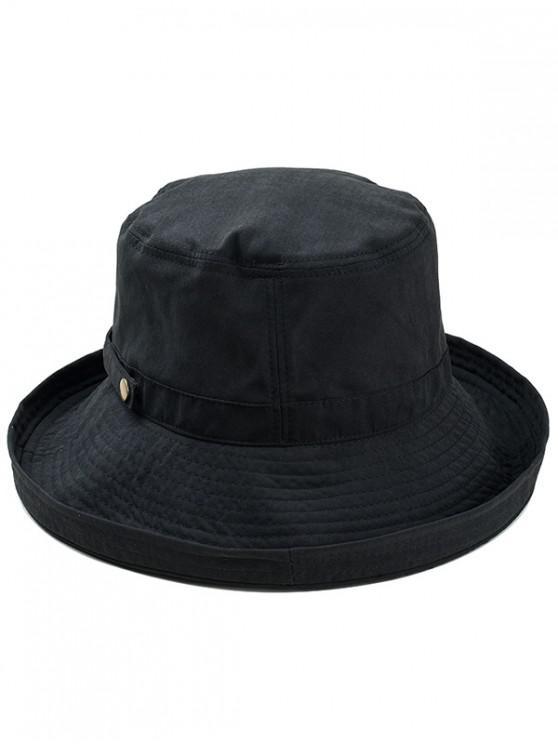 fashion Adjustable Cotton Bucket Hat - BLACK