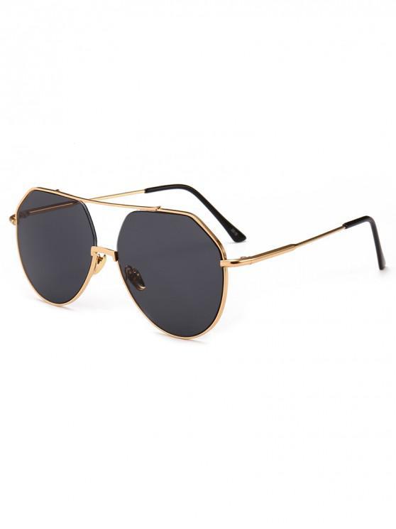 womens Outdoor Metal Rim Pilot Sunglasses - BLACK