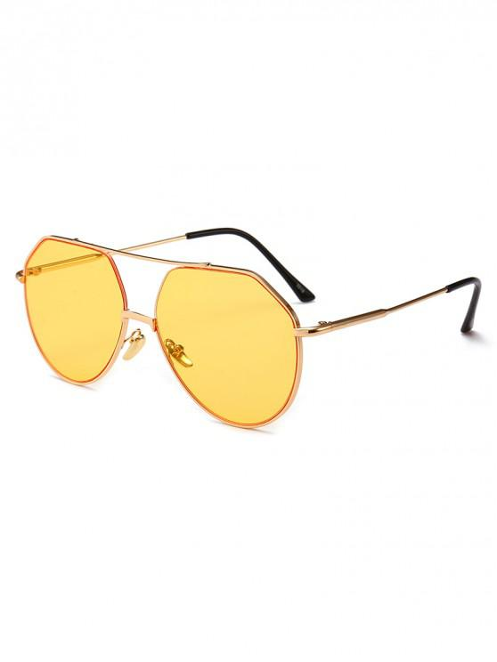 online Outdoor Metal Rim Pilot Sunglasses - GOLDENROD