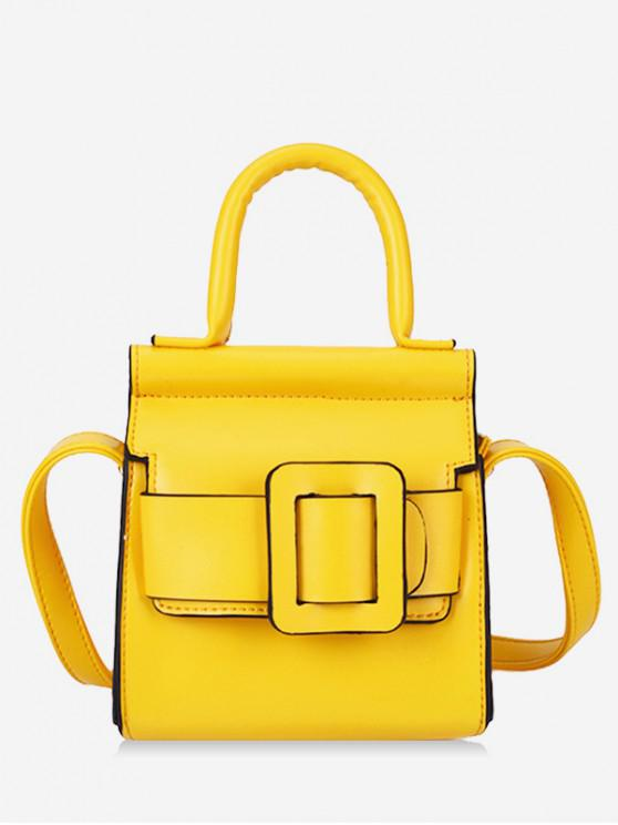 fancy Solid Buckle Design Leather Shoulder Bag - YELLOW