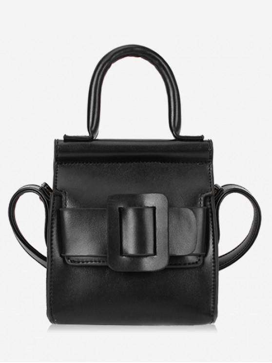 unique Solid Buckle Design Leather Shoulder Bag - BLACK