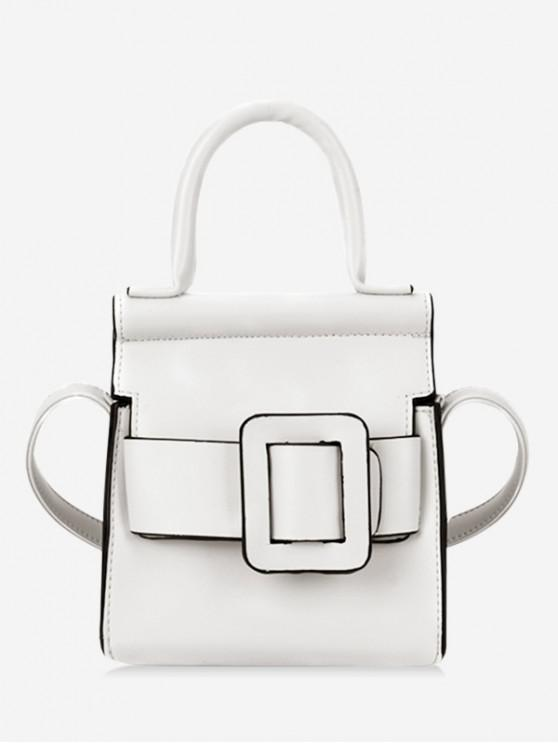 sale Solid Buckle Design Leather Shoulder Bag - WHITE