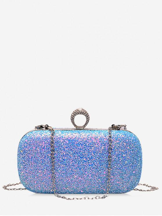 unique Hard Shiny Ring Decorated Shoulder Bag - BLUE GRAY
