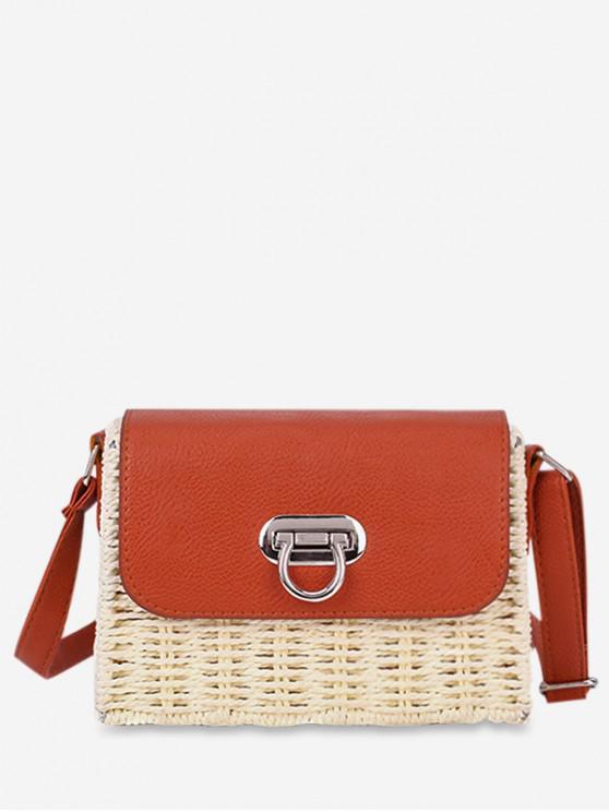 best Beach Straw Knitted Crossbody Bag - BEIGE