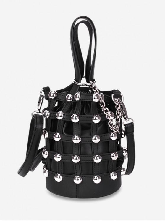 latest Rivet Decorated Drawstring Bucket Shoulder Bag - BLACK