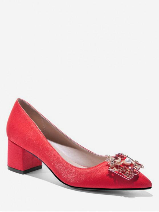 women Pointed Toe Chunky Heel Pumps - RED EU 42