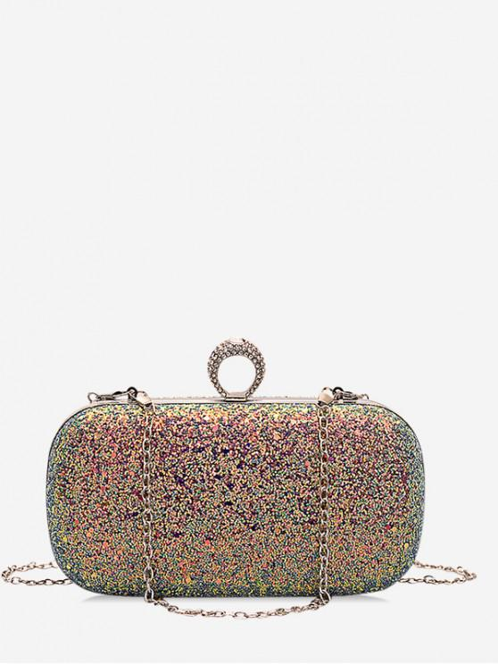 women's Hard Shiny Ring Decorated Shoulder Bag - MULTI-A
