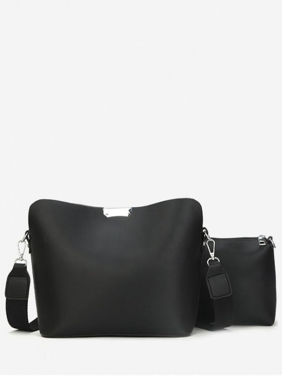 hot Simple Design Crossbody Bags Set - BLACK