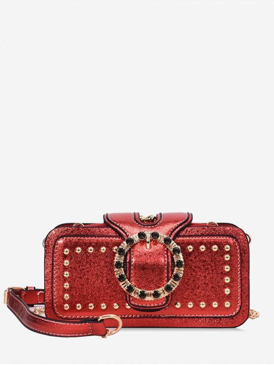 outfit Square Rivet Decorated Shoulder Bag - RED