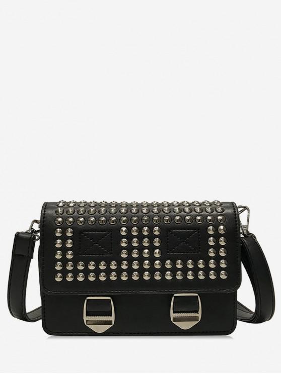 latest Rivet Messenger Cross Body Bag - BLACK