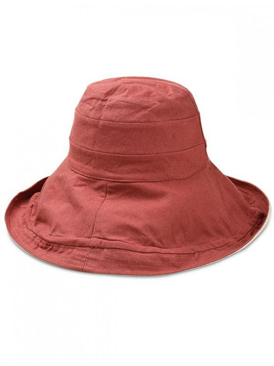 buy Double Faced Floppy Bucket Hat - CHESTNUT RED