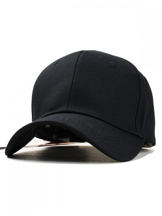 womens Solid Color Design Adjustable Baseball Hat - BLACK