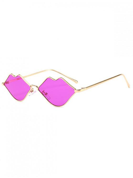 buy Metal Lip Shape Frame Stylish Sunglasses - PURPLE