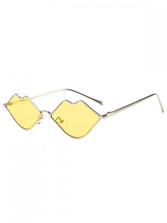 shops Metal Lip Shape Frame Stylish Sunglasses - YELLOW