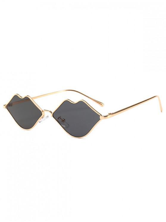 trendy Metal Lip Shape Frame Stylish Sunglasses - GRAY