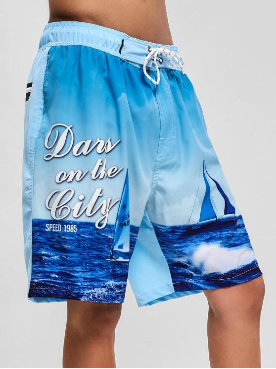 lady Sea Scenery Print Casual Board Shorts - LIGHT BLUE XS