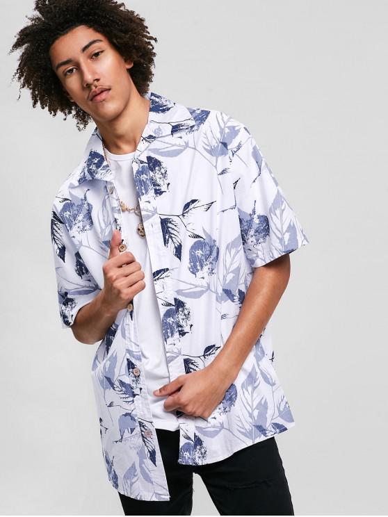 fashion Leaves Printed Short Sleeves Casual Shirt - WHITE M