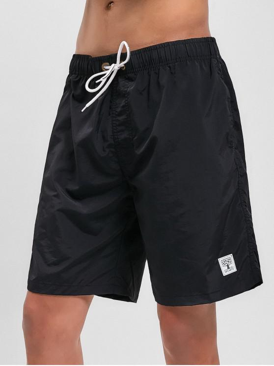 buy Appliques Solid Color Drawstring Beach Shorts - BLACK L