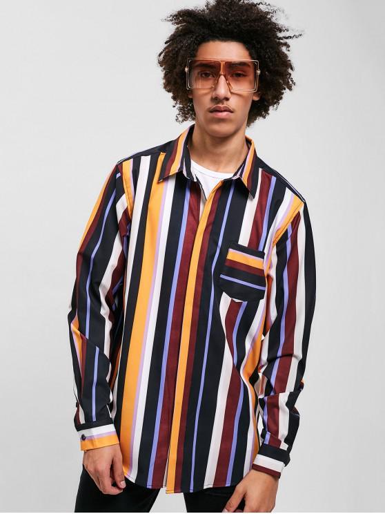 lady ZAFUL Contrast Stripes Chest Pocket Shirt - MULTI L