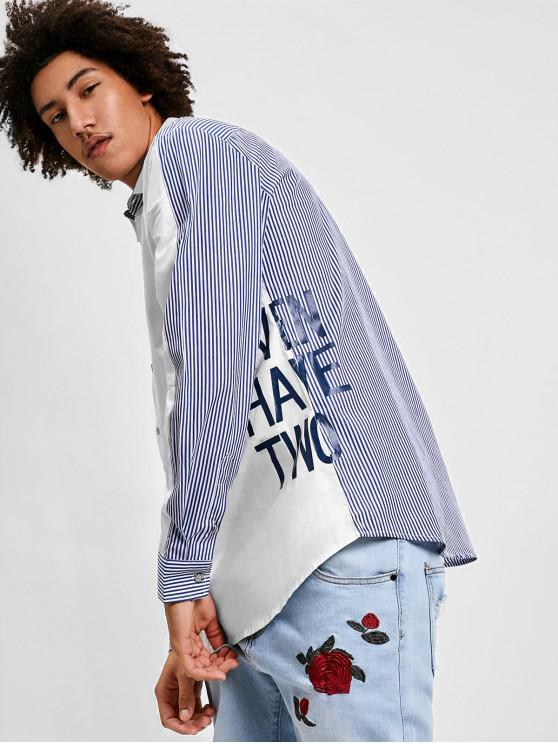 chic ZAFUL Letter Printed Striped Spliced Shirt - WHITE 2XL