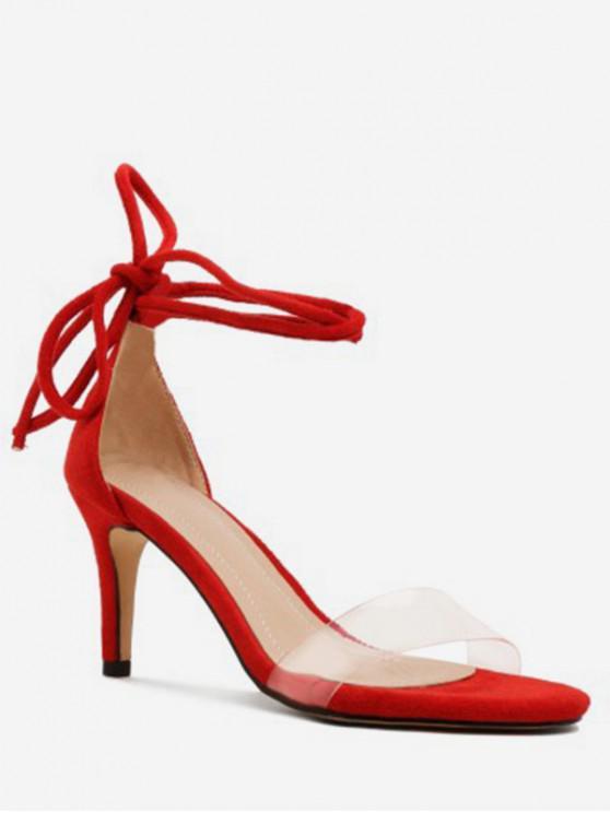 Escarpins Bride Transparente à Lacets - Rouge EU 41