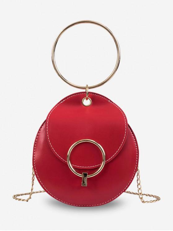 ladies Round Ring Metal Chain Shoulder Bag - RED
