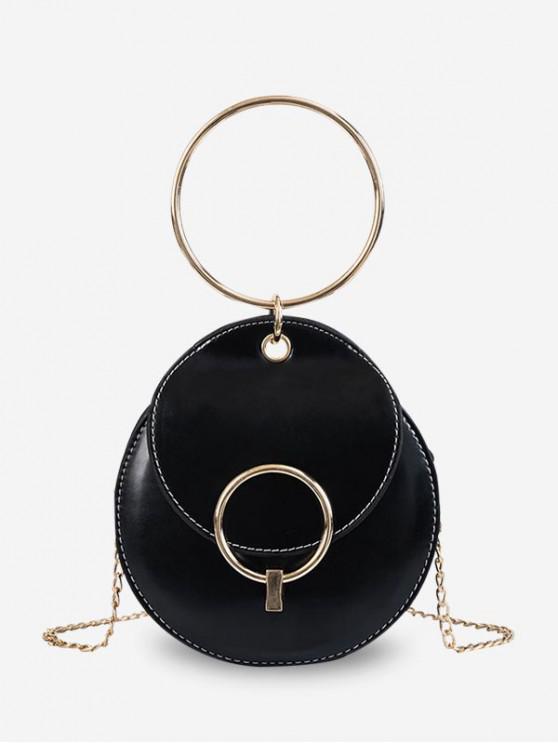 fancy Round Ring Metal Chain Shoulder Bag - BLACK