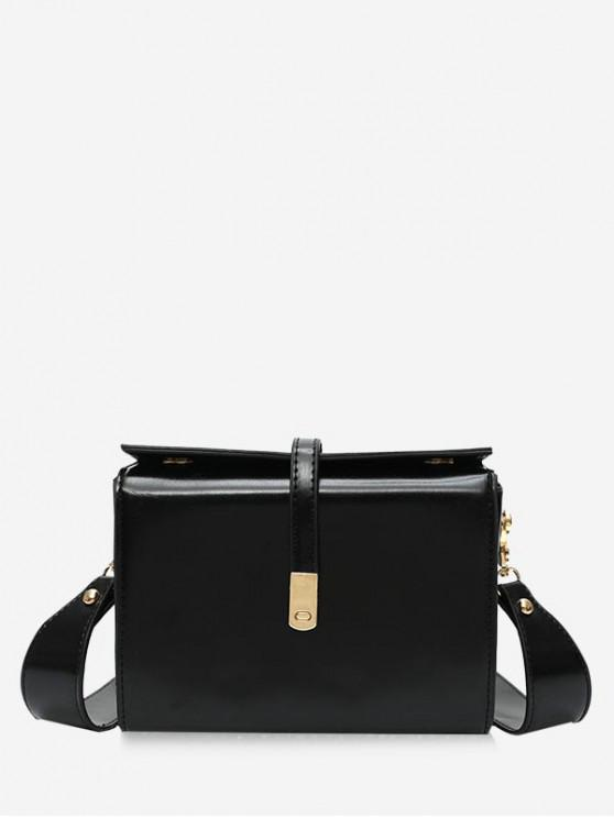 trendy Square Simple Style Leather Shoulder Bag - BLACK