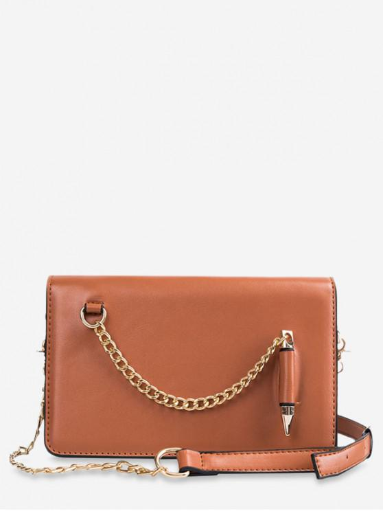 fashion Stylish Solid Chain Design Shoulder Bag - BROWN