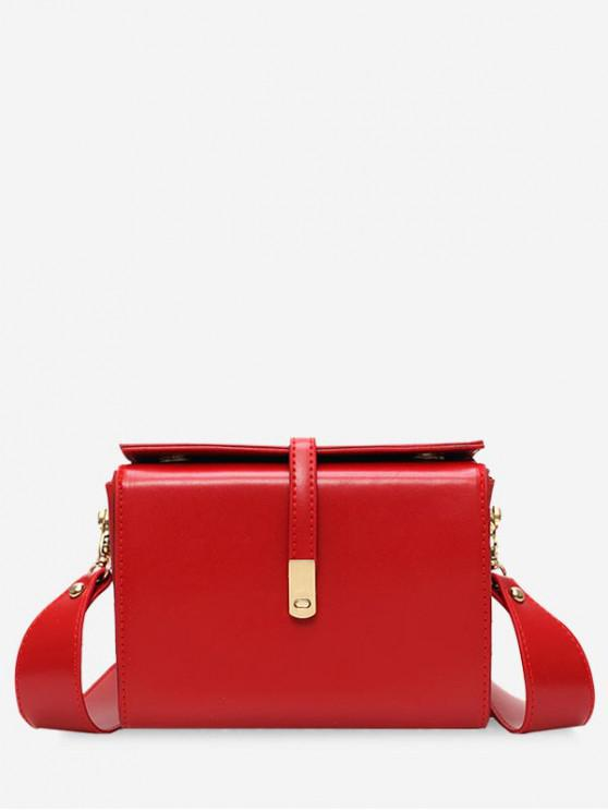 affordable Square Simple Style Leather Shoulder Bag - RED