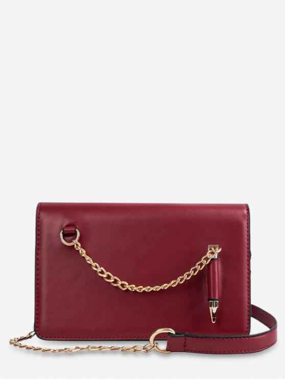 womens Stylish Solid Chain Design Shoulder Bag - RED