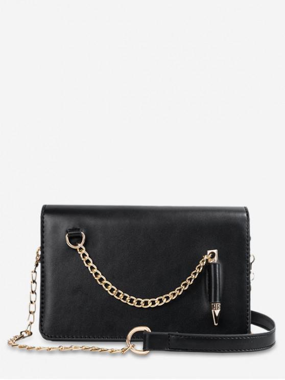 ladies Stylish Solid Chain Design Shoulder Bag - BLACK