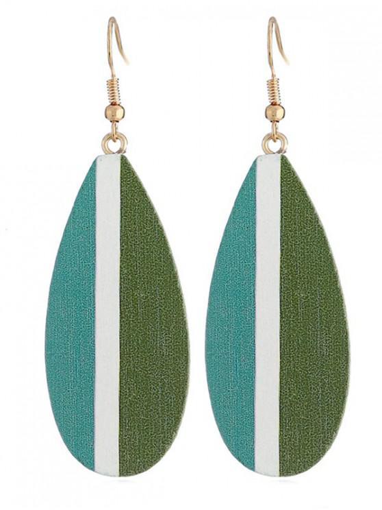 outfits Striped Pattern Leaf Shape Earrings - MEDIUM AQUAMARINE