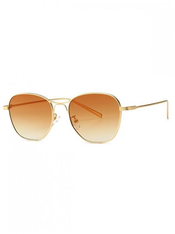 shops Geometric Design Alloy Frame Sunglasses - BROWN SUGAR