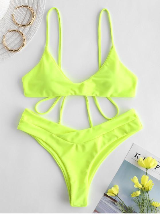 women's ZAFUL Slip High Leg Bikini Set - GREEN YELLOW L