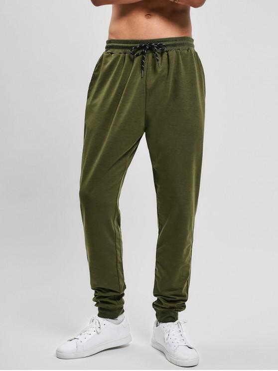 shops Solid Side Pockets Sports Jogger Pants - ARMY GREEN M