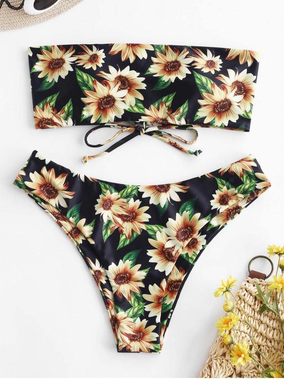fancy ZAFUL Sunflower Lace Up Reversible Bandeau Bikini Set - MULTI-A S