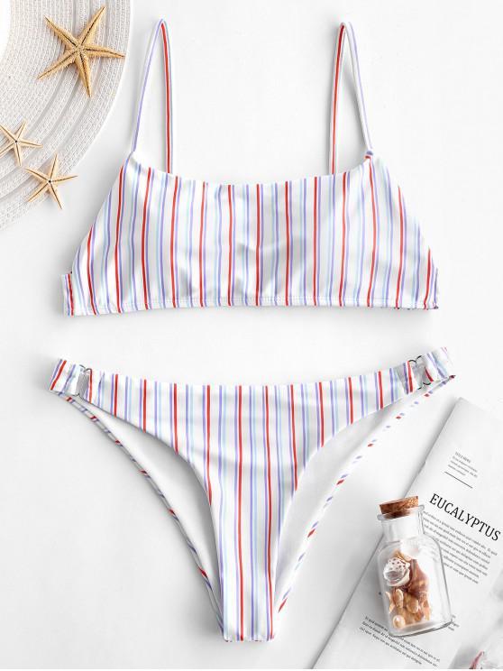 womens ZAFUL Hardware Striped Bikini Set - MULTI-A S