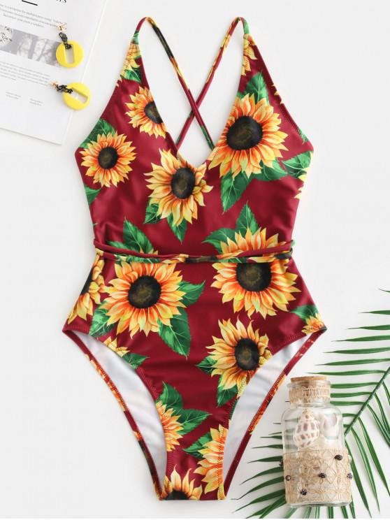 latest ZAFUL Sunflower Print Crisscross One-Piece Swimsuit - RED WINE XL