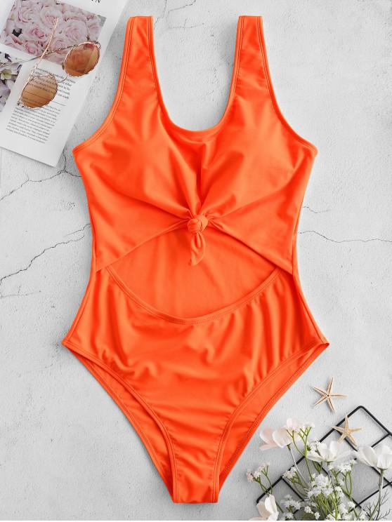 hot ZAFUL Neon Cut Out Knotted Backless Swimsuit - ORANGE S