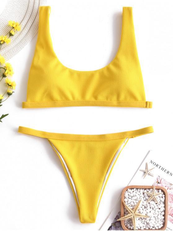 online Ribbed High Leg Padded Bikini Set - CORN YELLOW S