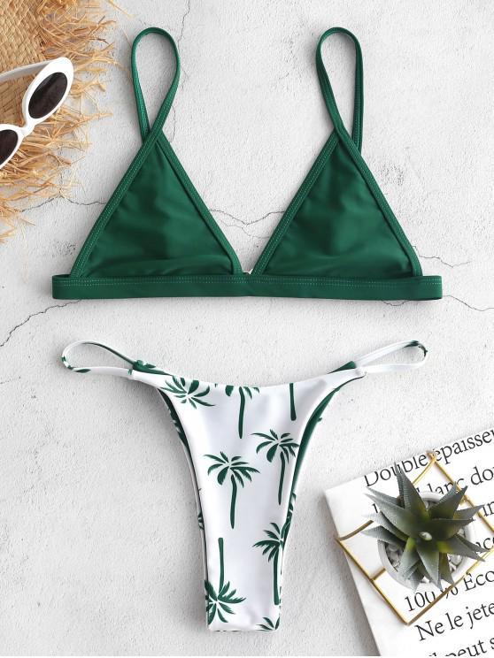 lady ZAFUL Coconut Tree Bralette Thong Bikini Set - MEDIUM SEA GREEN L