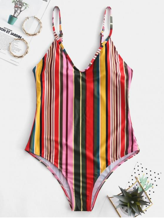 best ZAFUL Colorful Striped One-piece Swimsuit - MULTI-A S