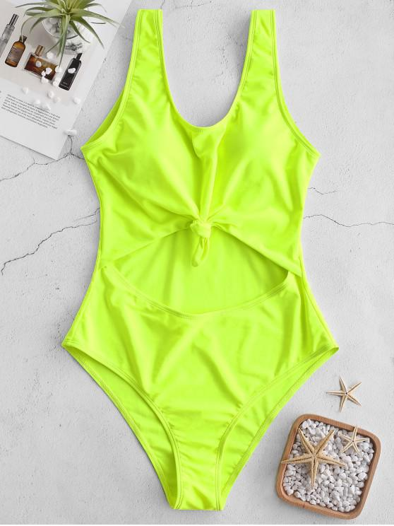hot ZAFUL Neon Cut Out Knotted Backless Swimsuit - GREEN YELLOW L