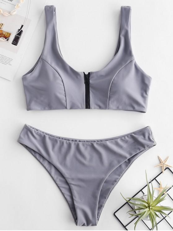 new ZAFUL Zip Front Tank Bikini Set - GRAY CLOUD L