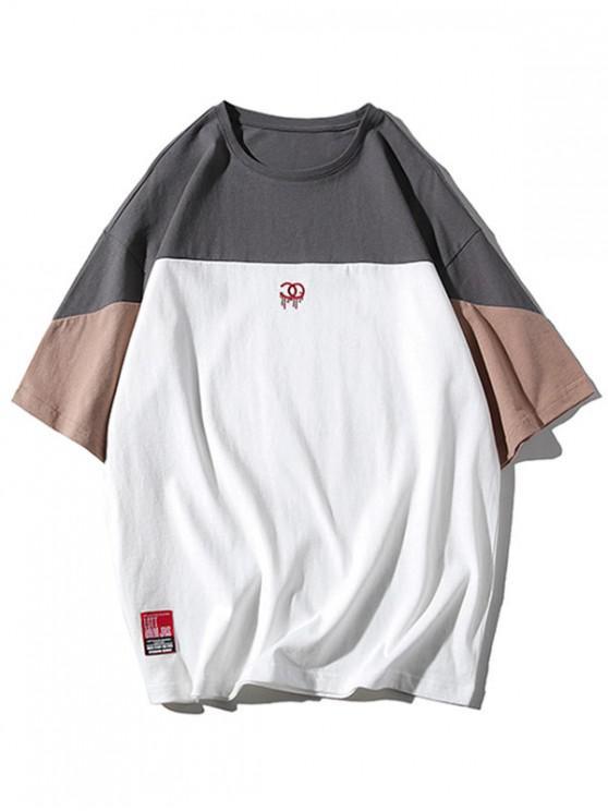 womens Applique Logo Print Panel T-shirt - DARK GRAY 3XL