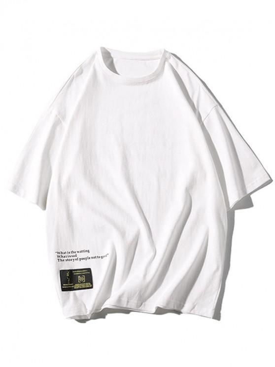 Apliques Letras Imprimir Casual Tee - Blanco XL